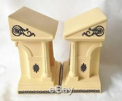 Wedgwood Library Collection Bookends Basalt on Cane Jasperware