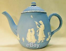 Wedgwood Light Blue and White Jasperware Teapot Designed by Lady Templeton 1790