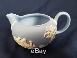 Wedgwood Light blue Jasperware teapot set with milk jug & lidded sugar bowl