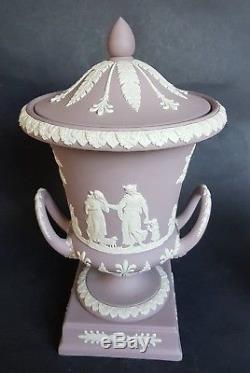 Wedgwood Lilac Jasper ware Pedestal Campana Urn with Lid 11.5 / 29 cm tall