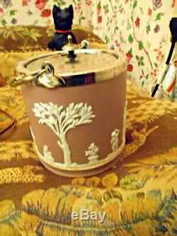 Wedgwood Lilac Jasperware Biscuit Barrel Silver Plate adornment VictorianNice