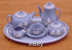 Wedgwood Mini / Miniature Blue Jasperware 12 Piece Tea & Coffee Set New In Boxes