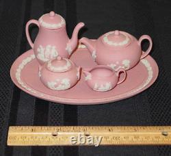 Wedgwood Mini / Miniature Pink Jasperware 8 Piece Coffee & Tea Set New