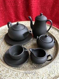 Wedgwood Miniature Black Basalt Tea Set (Jasper ware) PERFECT