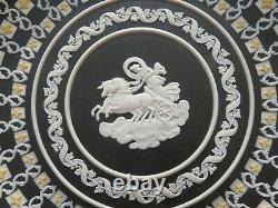 Wedgwood Museum Series Tri-Color Black Jasperware Diced Aurora Trophy Plate
