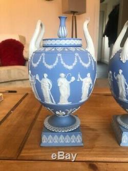 Wedgwood Pair Of Blue Jasperware Vases And Covers, Circa 1900 Rare