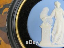Wedgwood Pale Blue Jasper Ware Sacrifice Figure Framed Round Plaque (c. 1820)