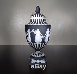 Wedgwood Porcelain Black Jasperware Dancing Hours Urn Vase Signed Art Pottery