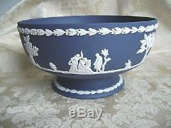 Wedgwood Portland Blue Jasperware 8 1/4 Imperial Centerpiece Pedestal Bowl