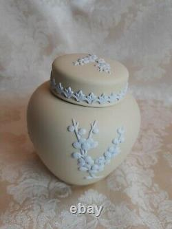 Wedgwood Primrose Yellow Jasperware Lidded Ginger Jar With Prunus Blossoms