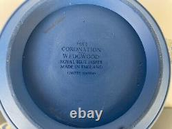 Wedgwood Queen Elizabeth II Royal Blue Jasperware Commemorative Tea Set 1953