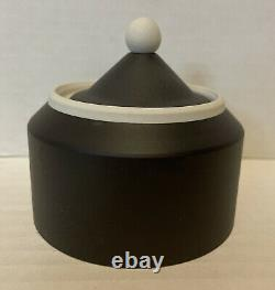 Wedgwood RARE Unusual Black Basalt & White Cylinder Trinket Box With Lid