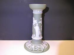 Wedgwood Sage Green Dip Jasper Ware Pillar Candlestick c. 1900