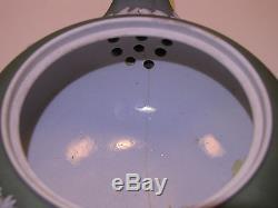 Wedgwood Sage Green Dip Jasper Ware Silver Mounted Tea Pot c. 1880