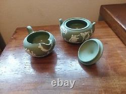Wedgwood Sage Green Jasperware 5 High Teapot with Sugar Bowl and Creamer