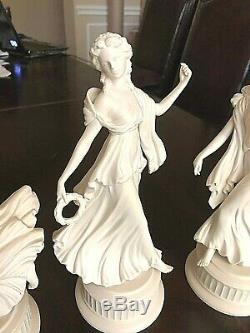 Wedgwood Set (5) White Bisque Figures The Dancing Hours Ladies #1,2,3,4 5 Mint