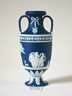 Wedgwood Small 5 Cobalt Blue Dip Jasperware Urn or Vase c1900