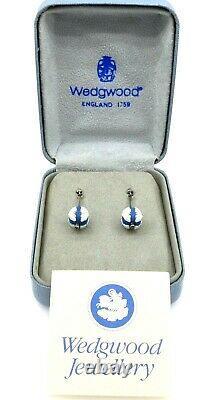 Wedgwood Sterling Silver Blue Jasperware Earrings, Dangles, WOB, Paper Vintage