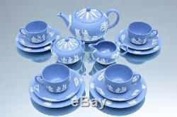 Wedgwood Teeservice Jasperware Hellblau, Jasper Blue, Teekanne, Tasse, Teller