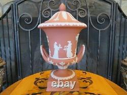 Wedgwood Terracotta Jasper Ware Campana Pedestal Urn Vase Sacrifice Figures 1957