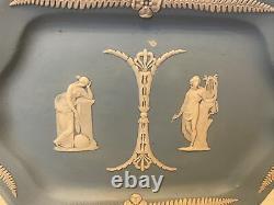 Wedgwood Very Old Early 1900s Jasperware Dip Blue Vanity Tray 9 1/2 x 6 1/4