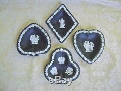 Wedgwood White On Black Jasperware Diamond, Club, Heart & Spade Bridge Set
