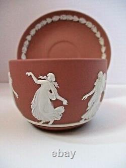 Wedgwood White On Terracotta Jasperware Dancing Hours Tea Cup & Saucer Set