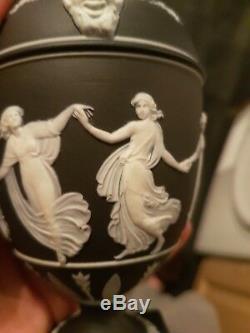 Wedgwood jasper ware black dancing hours urn