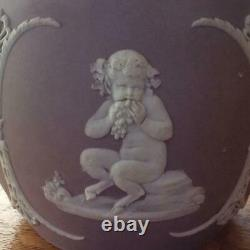 Wedgwood lilac jasper dipped biscuit barrel satyrs Wedgwood only circa 1877