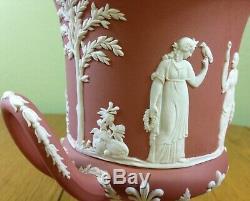Wedgwood=terracotta=pink=jasperware=pottery=campana=urn=lid=vase=1957=england