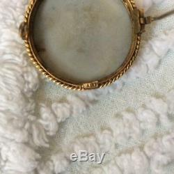 Wedgwood tricolor lilac, sage, white 1 jasperware cameo necklace/pin in 9K gold
