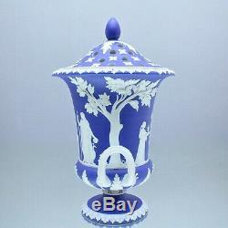 Wedgwood um 1820 grosse Potpourri Vase, Reliefs, Jasperware Blau, Campaner, dip
