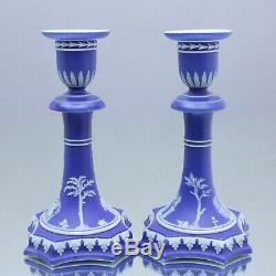Wedgwood um 1840 seltenes Paar Leuchter, Jasperware, Blau, Kerzenständer Cobalt