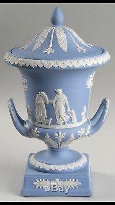 Wedwgood Blue Jasperware Campagna Vase Urn in original box. Mint condition