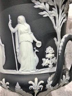 (c. 1894) Wedgwood Black Jasperware Campana Lidded Urn 8h Mint Conditon