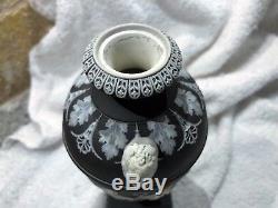 (c. 1894) Wedgwood Black Jasperware Dancing Hours Urn 7.5h Nice