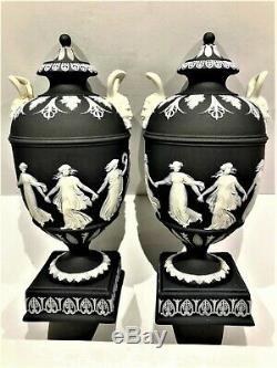(c. 1930) Wedgwood Black Jasperware Dancing Hours Vases 7.0h Stunning P