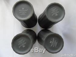 12 X Wedgwood Black Basalt Jasperware Tourne Les Béchers De Nuit Et De Jour 4,75