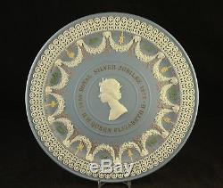 1977 Wedgwood Jasperware 5 Couleurs Royal Silver Jubilé Plaque Queen Elizabeth II