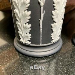 2 Vases À Déversement En Acanthe Jasperware Blancs Et Noirs, Wedgwood, Xixe Siècle