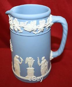 7 Pc Wedgwood Blue Jasperware Grenouille Vase & Grille, Pichet, Vase, Cruche