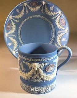 An Antique Wedgwood Jasper Ware Tri Color Coffee Can Et Saucer Pré 1890