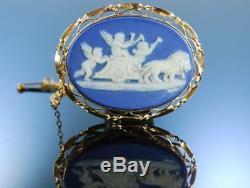 Antike Brosche Wedgwood Or Bleu Jaspe Ware Porzellan Angleterre Um 1885 Broche