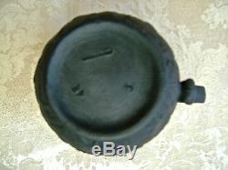 Antique 1874 Wedgwood Black Basalt Jasperware 3 3/4 Crémier Et Bol À Sucre Ouvert