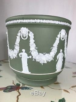 Antique Jasperware Jasperware Xixe Siècle Vert Grande Jardinière Planteur