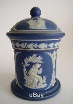 Antique Signée Tardive 18c / 19c Wedgwood Bleu Jasperware Pot Couvert C1820