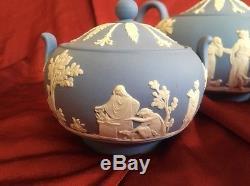 Antique Thé Wedgwood Blue Jasperware Des Années 1950 Théière Sucre Creamer Angleterre