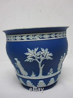 Antique Wedgwood Bleu Foncé Jasperware 7 1/8 Cache Pot Pot Fabriqué En Angleterre