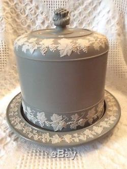 Antique Wedgwood Dudson Jasperware Vert Grand Stilton Cheese Plaque De Dôme C1860