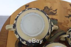 Antique Wedgwood Ensemble De Thé Yellow Jasper Ware (3 Pièces) Avec Black Relief, C. 1920